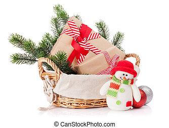 weihnachtsgeschenk, kästen, schneemann, spielzeug, tanne