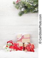 weihnachtsgeschenk, kästen, schneemann, spielzeug, und, tanne