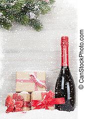 weihnachtsgeschenk, kästen, sektflasche