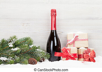 weihnachtsgeschenk, kästen, und, sektflasche