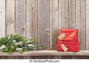 weihnachtsgeschenk, kästen, und, tanne