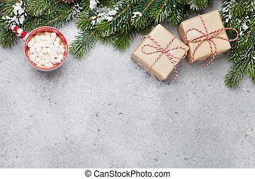 weihnachtsgeschenk, kästen, und, xmax, tanne