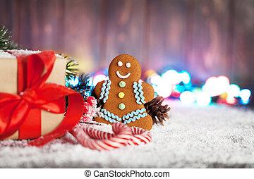weihnachtsgeschenk, kandieren spazierstocke, und, lebkuchen mann