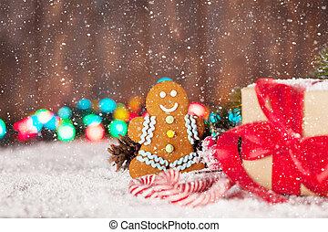 weihnachtsgeschenk, kasten, kandieren spazierstocke, und, lebkuchen mann