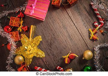 weihnachtsgeschenk, kasten, lebensmittel, dekor