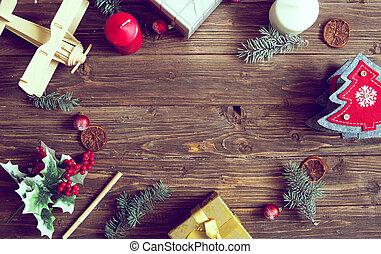 weihnachtsgeschenk, kasten, lebensmittel, dekor, und, tanne, zweig, auf, hölzern, tisch., draufsicht, mit, kopieren platz