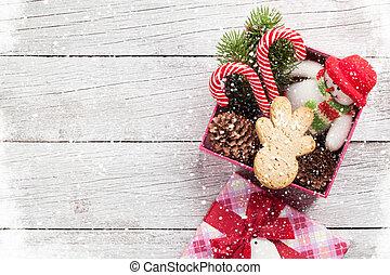 weihnachtsgeschenk, kasten, mit, lebkuchen mann, kandieren spazierstocke