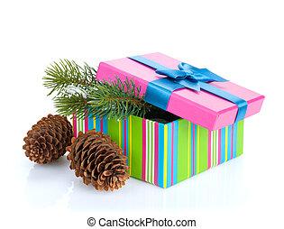 weihnachtsgeschenk, kasten, mit, tanne