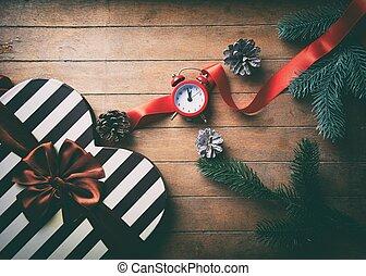 weihnachtsgeschenk, kasten, mit, wecker