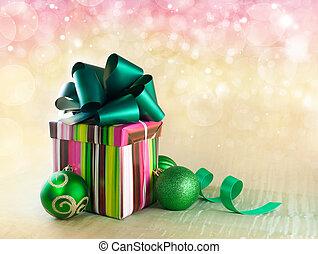 weihnachtsgeschenk, kasten, mit, weihnachten, kugeln