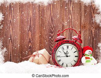 weihnachtsgeschenk, kasten, schneemann, spielzeug, und, wecker