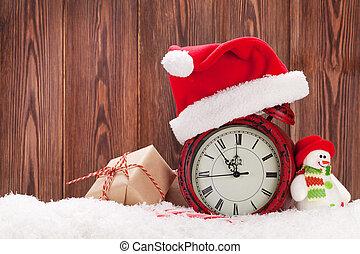 weihnachtsgeschenk, kasten, schneemann, und, wecker