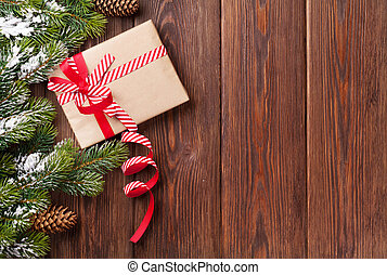weihnachtsgeschenk, kasten, und, baum- niederlassung