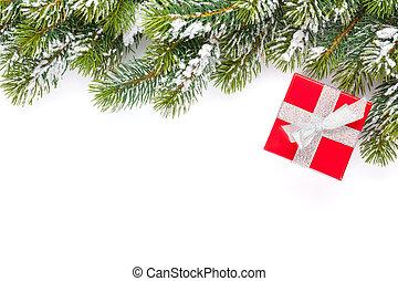weihnachtsgeschenk, kasten, und, schnee, tanne