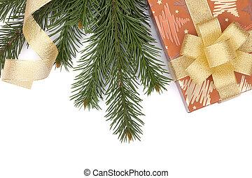weihnachtsgeschenk, kasten, und, tanne