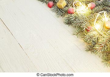 weihnachtsgeschenk, kasten, und, tanne, zweig, auf, hölzern, tisch., draufsicht, mit, kopieren platz