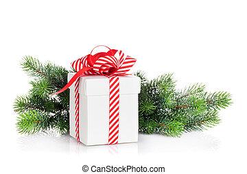 weihnachtsgeschenk, kasten, und, tanne, zweig