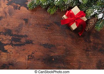 weihnachtsgeschenk, kasten, und, xmax, tanne