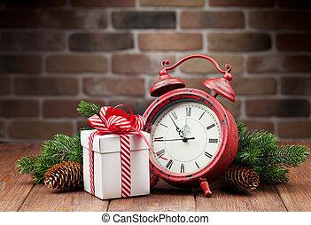 weihnachtsgeschenk, kasten, wecker, und, baum- niederlassung