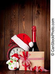 weihnachtsgeschenk, kasten, wecker, und, champagner