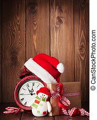 weihnachtsgeschenk, kasten, wecker, und, schneemann, spielzeug