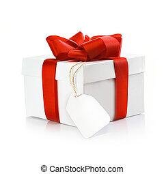 weihnachtsgeschenk, mit, leer, etikett