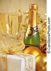 weihnachtsgeschenk, und, champagner