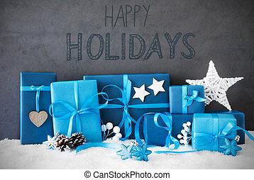 weihnachtsgeschenke, schnee, kalligraphie, glücklich, feiertage
