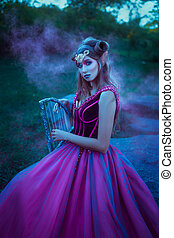 weihnachtshelfer, frau, kleiden, violett