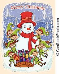 weihnachtshelfer, mit, schneemann, und, geschenk, für, frohe weihnacht