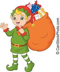 weihnachtshelfer, sack, karikatur, geschenke, tragen, weihnachten