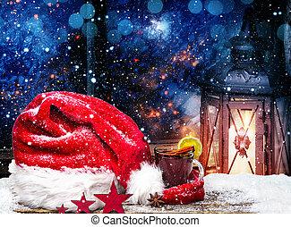 weihnachtshut, gluehwein, und, laterne, in, der, fenster