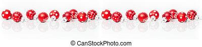 weihnachtskarte, banner, mit, rotes , baubles