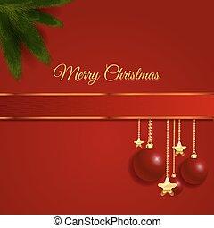 weihnachtskarte, design, roter bogen, mit, geschenkband, vektor, eps, 10