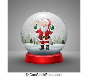 weihnachtskarte, mit, a, schneemann, in, der, schneien globus