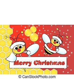 weihnachtskarte, mit, bienchen, weihnachtsmann, und, bienenkorb