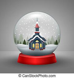 weihnachtskarte, mit, kirche, in, der, schneien globus