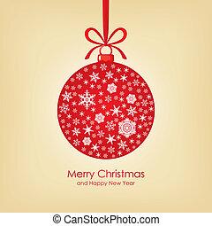 weihnachtskarte, mit, kugel