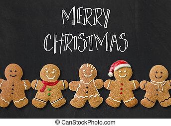 weihnachtskarte, mit, lebkuchen männer