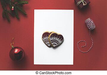 weihnachtskarte, mit, lebkuchen- plätzchen