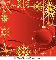 weihnachtskarte, mit, schneeflocken