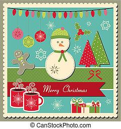 weihnachtskarte, mit, schneemann