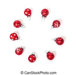 weihnachtskarte, rotes , kugeln