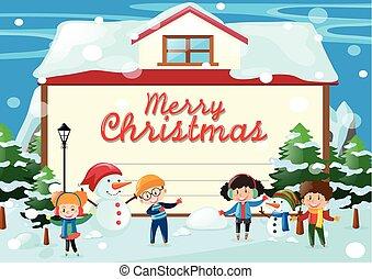 weihnachtskarte, schablone, mit, kinder, in, der, schnee