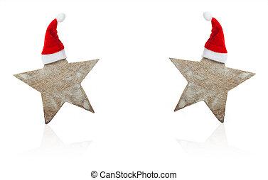 weihnachtskarte, sternen, mit, weihnachtshüte