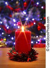 weihnachtskerze, mit, starburst, und, dekoriert, baum, hintergrund.
