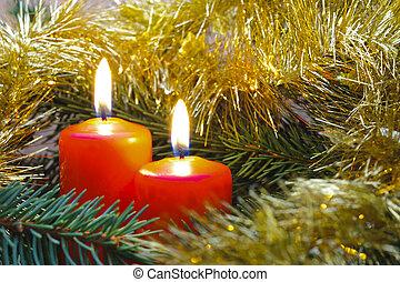 weihnachtskerzen, auf, zweig