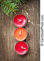weihnachtskerzen, dekoration, und, tanne