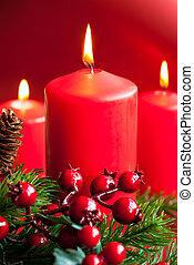 weihnachtskerzen, mit, dekor