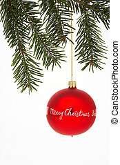 weihnachtskugel, bola, árvore, -, natal, tannenzweig,...